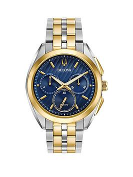 bulova-bulova-curv-blue-and-gold-chronograph-dial-two-tone-stainless-steel-bracelet-mens-watch