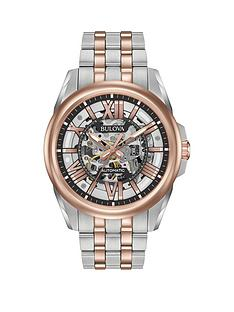 bulova-bulova-classic-rose-gold-and-grey-skeleton-dial-two-tone-stainless-steel-bracelet-mens-watch