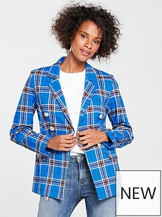 v-by-very-check-double-breasted-blazer-blue