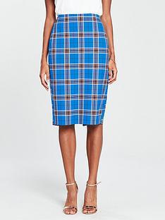 v-by-very-check-pencil-skirt-blue