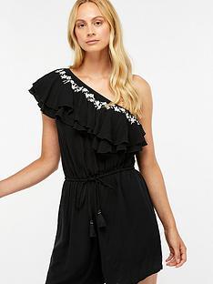 accessorize-one-shoulder-playsuitnbsp--black