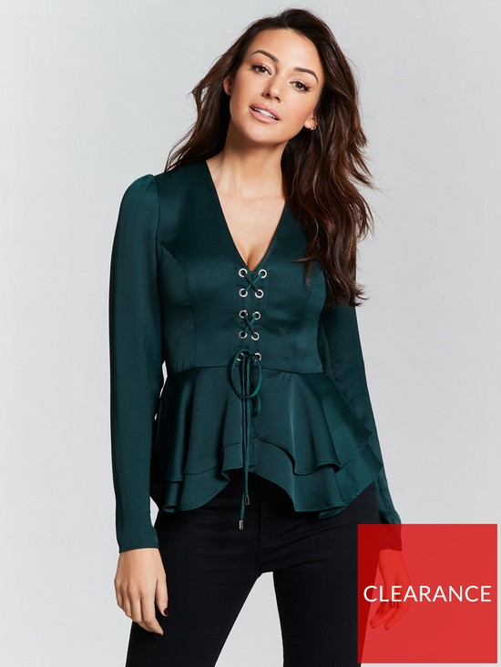 b6c9e6c6eed Michelle Keegan Eyelet Lace Up Satin Blouse - Green | very.co.uk
