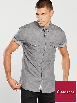 river-island-short-sleeve-grey-denim-shirt