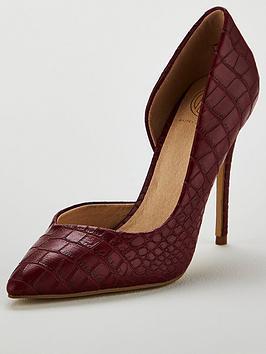 Kg Alexandra Croc Heeled Court Shoe - Red