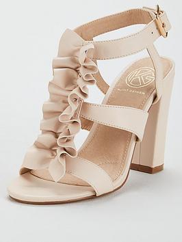 Kg Fliss Ruffle Front Heeled Sandal - Ivory