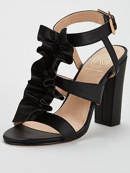 Kg Fliss Ruffle Front Heeled Sandal - Black
