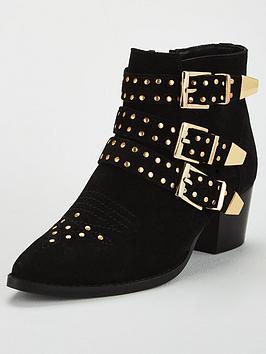 Kg Tiger-Black-Suede Ankle Boot