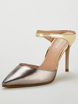 Carvela Agnes Leather Heeled Mules - Gunmetal Silver/Gold