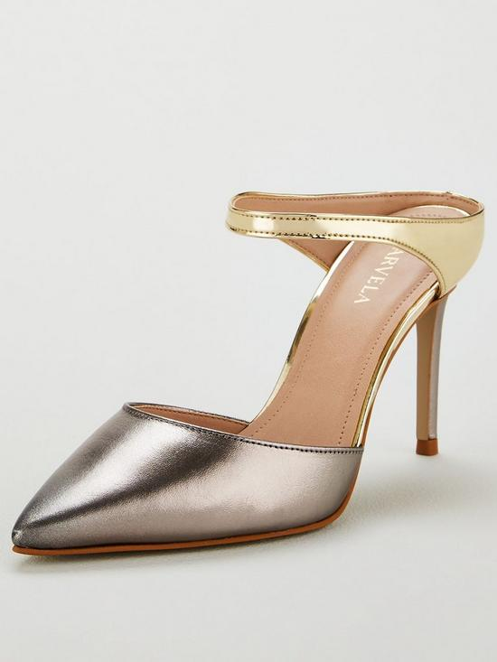 Carvela Agnes Leather Heeled Mules - Silver/Gold, Women