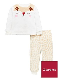 mini-v-by-very-girls-reindeer-christmas-twonbsppiecenbsppyjama-set