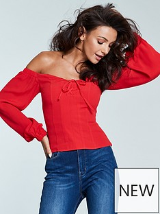 michelle-keegan-bardot-lace-up-blouse-red