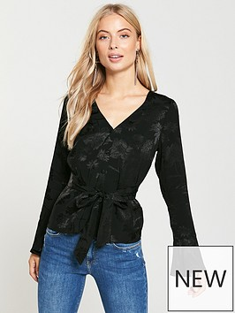 v-by-very-jacquardnbsptie-front-blouse-black