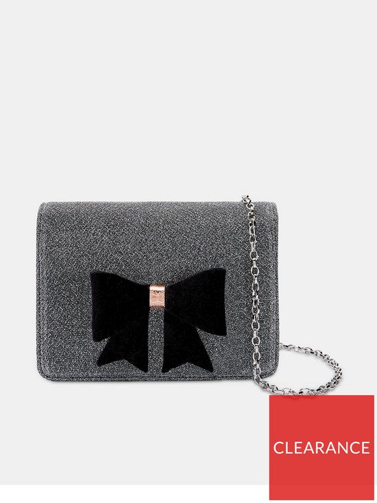e0996e92e24f Ted Baker Ted Baker Jeminna Silver Glitter Core Bow Evening Bag ...