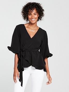 river-island-tie-waist-frill-top-black