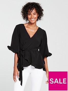river-island-tie-waist-frill-top-black