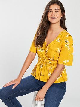 river-island-floral-tea-top-yellow