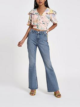 Ri Petite Marnie Flare Jeans- Mid Blue