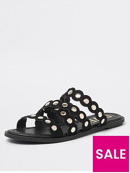 river-island-stud-scallop-slider-black