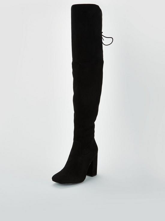 38055e661b4 Larissa Block Heel Lace Back Over The Knee Boot - Black