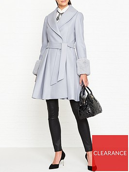 ted-baker-zurii-faux-fur-cuff-skirted-coat-grey