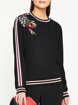 ted-baker-maddeyy-embroidered-trim-sweatshirt-black