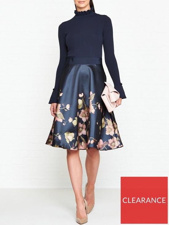 52825847a97e Ted Baker Seema Aboretum Knitted Bodice Full Skirt Dress - Navy ...