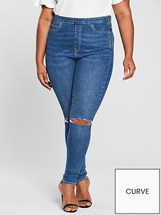 5a520462ca15 V by Very Curve Slash Knee Jegging - Mid Wash
