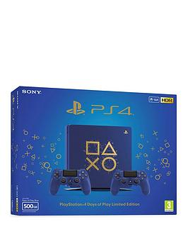 playstation-4-limited-edition-days-of-play-500gb-ps4-console-with-2-days-of-play-dualshock-4-controllers-god-of-war-and-365-day-psn-subscription