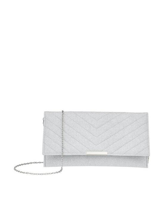 e8e0d2f94e8 Accessorize Kelly Glitter Clutch Bag - Silver | very.co.uk