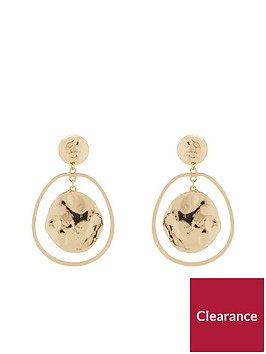v-by-very-adriana-hammered-effect-drop-earrings-gold-metal