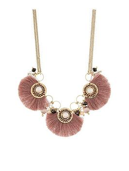 accessorize-athena-fringe-collar-necklace-pink