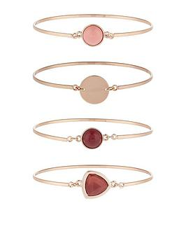 accessorize-stone-bangle-pack-pink