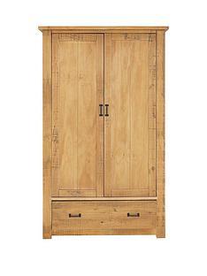 Albion 2 Door, 1 Drawer Solid Pine Wardrobe