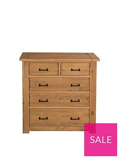 Albion Solid Pine 3 + 2 Drawer Chest