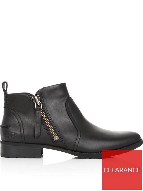 b0b664e318c Aureo Leather Zip Ankle Boots - Black