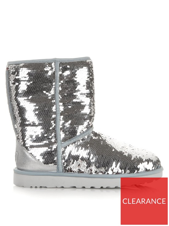 b81979bd69e UGG Classic Short Sequin Boots - Silver | very.co.uk