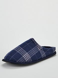 v-by-very-navy-check-mule-slippers