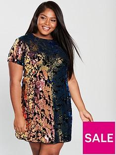 8eadae3d517 V by Very Curve Sequin Velvet Tunic Dress - Multi