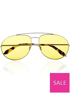 victoria-beckham-double-bridge-metal-aviator-sunglassesnbsp--silver