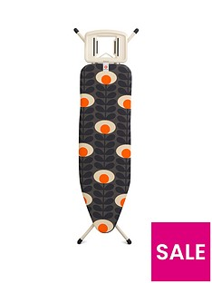 brabantia-ironing-board-b-medium-124-x-38-cm-with-solid-steam-iron-rest-orla-kiely-flower-oval-stem