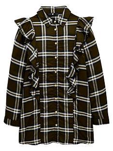 v-by-very-girls-long-sleeve-ruffle-tunic-khaki-check