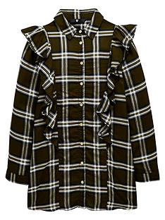 v-by-very-girls-ruffle-khaki-check-tunic