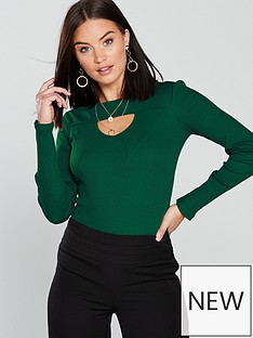 v-by-very-cut-out-rib-top-green