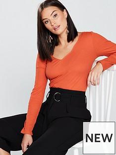 v-by-very-scalloped-rib-top-orange