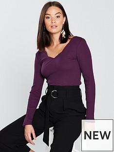 v-by-very-scallop-rib-top-purple