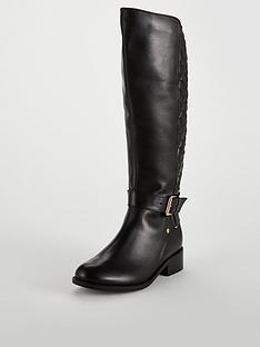 carvela-polished-quilted-rider-knee-boot-black