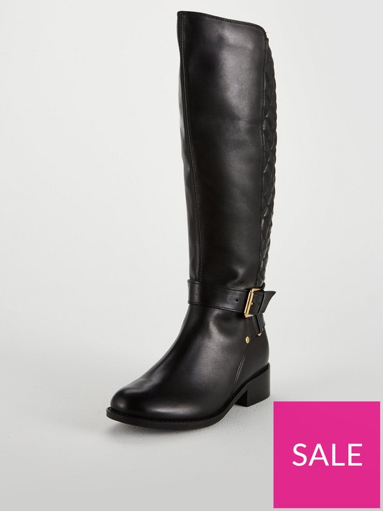 658741a17 Carvela Polished Quilted Rider Knee Boot - Black | very.co.uk
