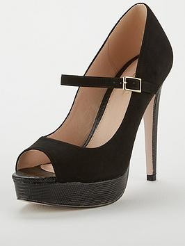 Miss Kg Polly Platform Peep Mary Jane - Black