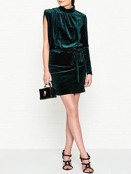 gestuz-dafny-velvet-one-sleeve-dress-green