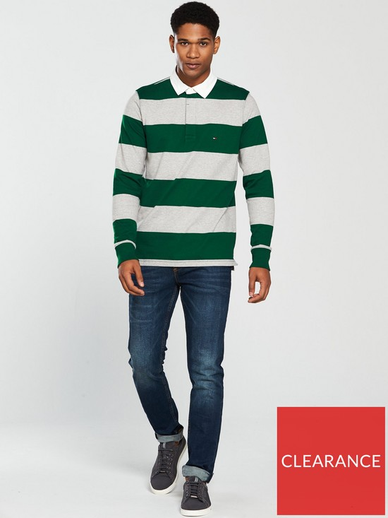 440ed52d ... Tommy Hilfiger Iconic Block Stripe Rugby Top - Green/Grey. View larger